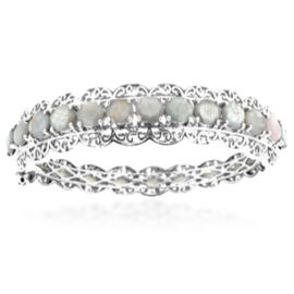 Natural Silver Sapphire (Ovl) Bangle in Rhodium Plated Sterling Silver (Size 7.5) 15.000 Ct.