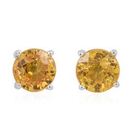 ILIANA 18K W Gold AAA Yellow Sapphire (Rnd) Stud Earrings (with Screw Back) 1.000 Ct.