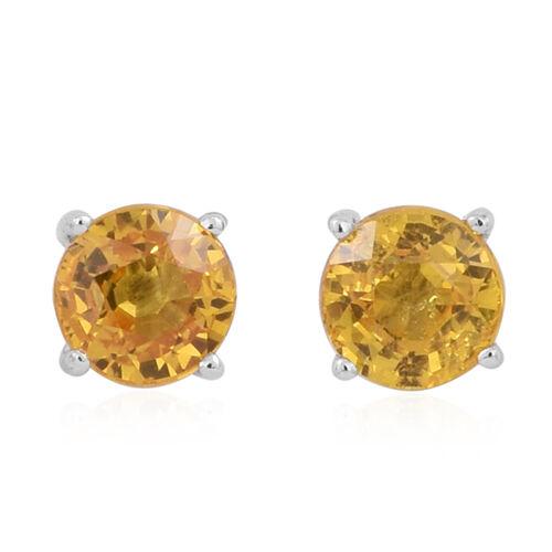 ILIANA 18K White Gold 1 Carat AAA Yellow Sapphire Stud Earrings (with Screw Back)