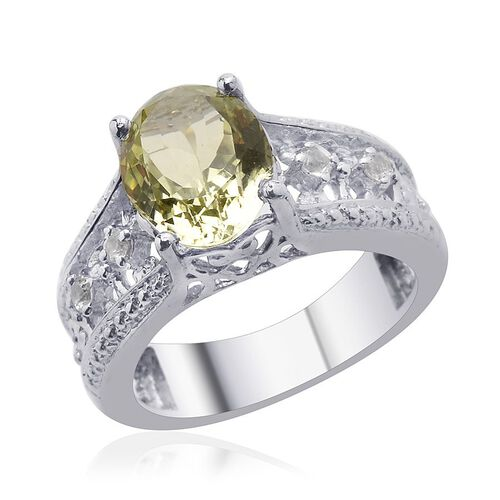 Green Sillimanite (Ovl 2.40 Ct), White Topaz Ring in Platinum Overlay Sterling Silver 2.500 Ct.