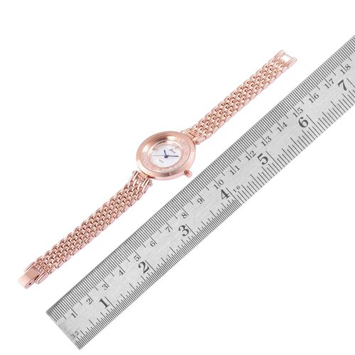 GENOA Japanese Movement White Dial with Austrian Crystal Water Resistant Watch in Rose Gold Tone with Stainless Steel Back and Chain Strap