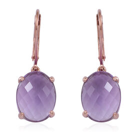 Rose De France Amethyst (Ovl) Lever Back Earrings in Rose Gold Overlay Sterling Silver 10.000 Ct.
