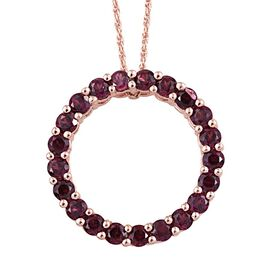 Odisha Rhodolite Garnet (Rnd) Circle of Life Pendant with Chain in Rose Gold Overlay Sterling Silver 2.750 Ct.