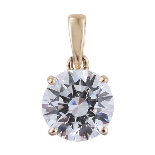 9K Y Gold (Rnd) Solitaire Pendant and Stud Earrings (with Push Back) Made with SWAROVSKI ZIRCONIA