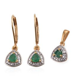 Kagem Zambian Emerald (Trl), Diamond Pendant and Lever Back Earrings in 14K Gold Overlay Sterling Silver 0.650 Ct.