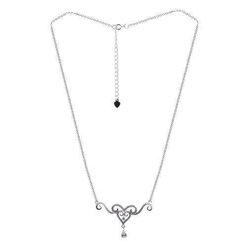 (Option 1) ELANZA AAA Simulated Diamond (Pear) Necklace (Size 18) in Rhodium Plated Sterling Silver