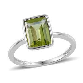 9K W Gold AAA Hebei Peridot (Oct) Solitaire Ring 2.250 Ct.