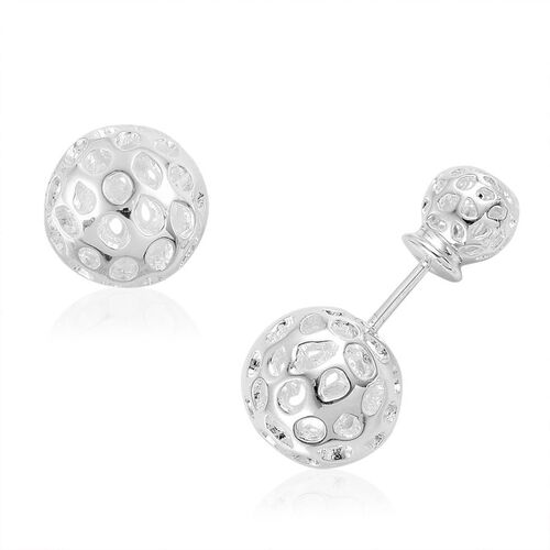 RACHEL GALLEY Sterling Silver Front and Back Globe Stud Earrings (with Push Back), Silver wt 4.41 Gms.