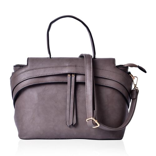 Grey Colour Tote Bag with External Zipper Pocket and Adjustable and Removable Shoulder Strap (Size 32x22.5x15 Cm)
