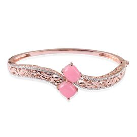 Pink Jade (Cush) Bangle (Size 7.5) in Rose Gold Overlay Sterling Silver 11.000 Ct.