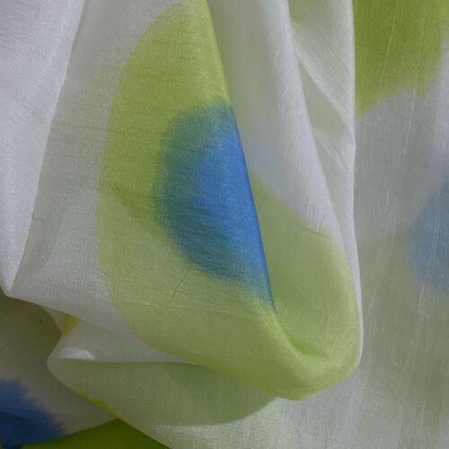 100% Mulberry Silk Pink, Green and Multi Colour Abstract Pattern Pareo (Size 180x100 Cm)