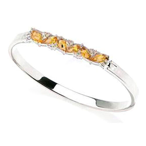 Citrine, White Topaz Sterling Silver Bangle 10.00 Ct.