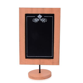 Home Decor - Table Top Orange Colour Small Wooden Chalkboard in Silver Tone (Size 6.5x11.5x3.75 inch)