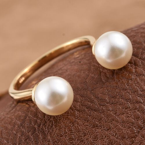 J Francis Crystal from Swarovski - Cream Pearl (Rnd) Open Ring in 14K Yellow Gold Overlay Sterling Silver