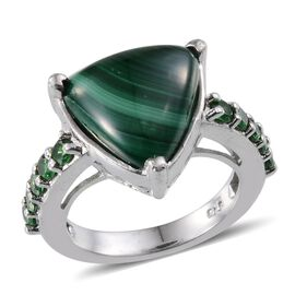Malachite (Trl 15.00 Ct), Simulated Emerald Ring in ION Plated Platinum Bond 16.000 Ct.