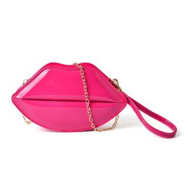 Fuchsia Colour Lip Design Crossbody Bag with Chain Strap (Size 24.5x13.5x7 Cm)