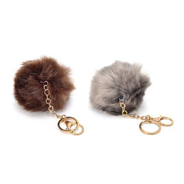 Set of 2 -  Faux Fur Grey and Chocolate Colour Fluffy Pom Pom Key Chain in Gold Tone (Size 10 Cm)