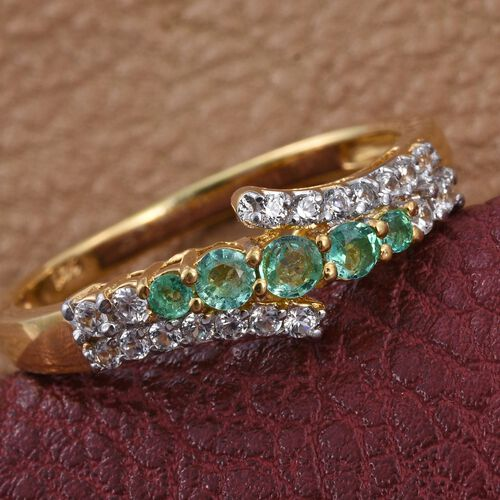 Boyaca Colombian Emerald (Rnd), Natural Cambodian Zircon Ring in 14K Gold Overlay Sterling Silver 0.750 Ct.