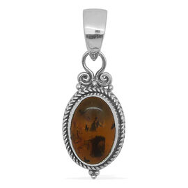 Royal Bali Collection Baltic Amber (Ovl) Solitaire Pendant in Sterling Silver 1.380 Ct.