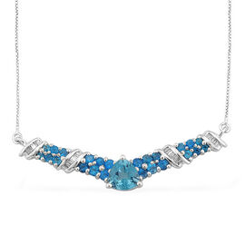 Paraibe Apatite (Trl 1.40 Ct), Malgache Neon Apatite and Diamond Necklace With Chain (Size 18) in Platinum Overlay Sterling Silver 3.250 Ct.