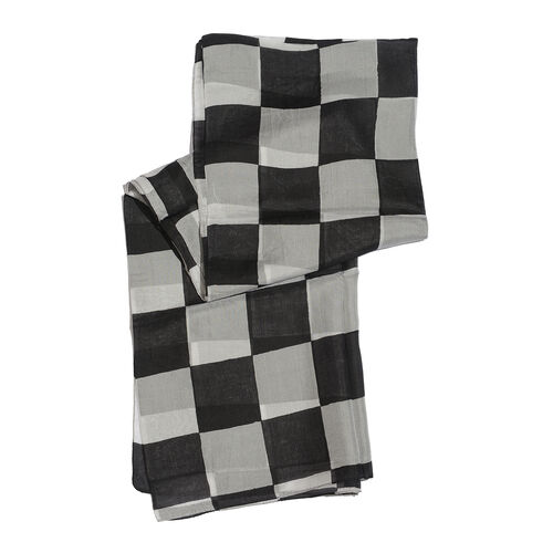 100% Mulberry Silk Black and White Colour Geometrical Patten White Colour Scarf (Size 180x100 Cm)
