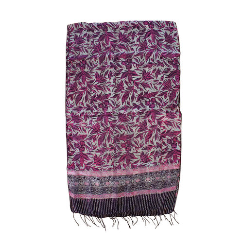 Leaf Pattern Purple and Multi Colour 100% Silk Scarf (Size 150x45 Cm)