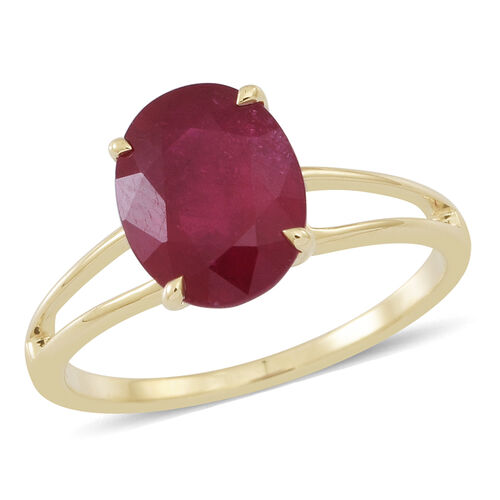 9K Y Gold AAA African Ruby (Ovl) Solitaire Ring 3.750 Ct.