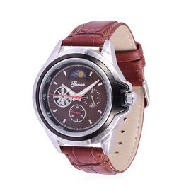 GENOA Automatic Skeleton Chocolate Colour Dial Water Resistant Watch in Silver Tone with Stainless Steel Back and Chocolate Colour Strap