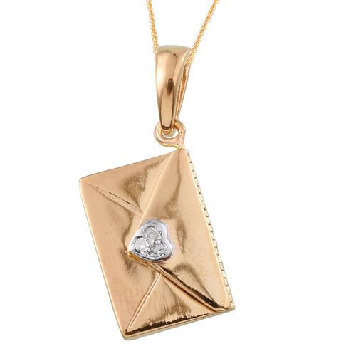 Diamond (Rnd) Envelope Pendant With Chain in ION Plated 18K Yellow Gold Bond