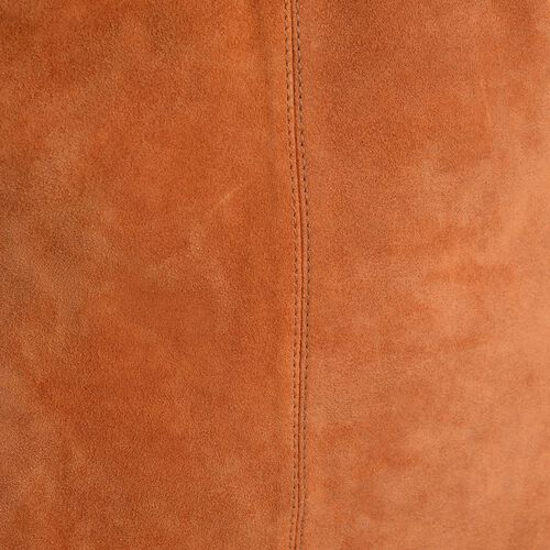 Genuine Leather Orange Colour Handbag with Thick Braided Shoulder Strap (Size 42x27 Cm)