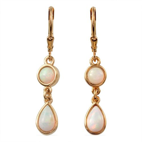 Ethiopian Welo Opal (Pear) Lever Back Earrings in 14K Gold Overlay Sterling Silver 1.500 Ct.