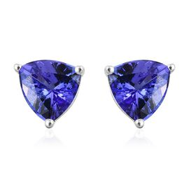 14K White Gold 1.50 Carat Tanzanite Trillion Solitaire Stud Earrings.