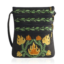 Suede Fabric Green and Yellow Colour Flowers and Leaves Embroidered Black Colour Sling Bag (Size 26x20 Cm)