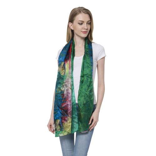 100% Mulberry Silk Red, Purple, Yellow and Multi Colour Forest Pattern Green Colour Scarf (Size 180x110 Cm)
