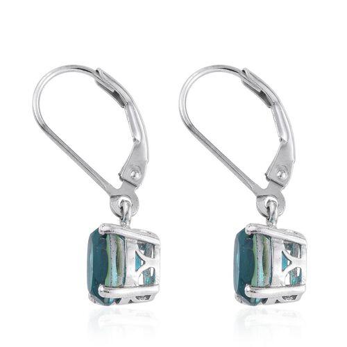 Capri Blue Quartz (Ovl) Lever Back Earrings in Platinum Overlay Sterling Silver 3.000 Ct.