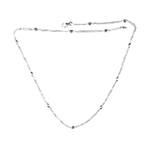 JCK Vegas Collection Rhodium Plated Sterling Silver Station Necklace (Size 20), Silver wt 4.76 Gms.