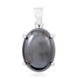 100% Natural Hematite (Ovl) Pendant in Sterling Silver 18.000 Ct.