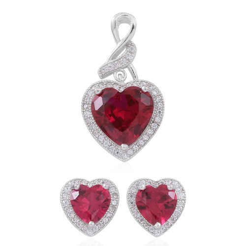 ELANZA AAA Simulated Ruby (Hrt), Simulated White Diamond Pendant and Stud Earrings (with Push Back) in Rhodium Plated Sterling Silver