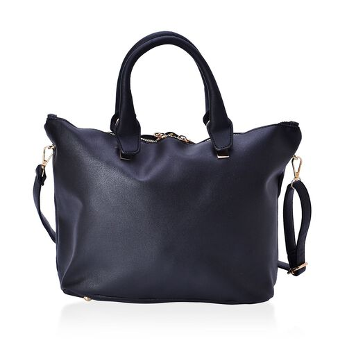 Set of 2 - Black Colour Handbag With Adjustable and Removable Shoulder Strap (Size 25.5x13.5 Cm and 13.5x11x3.5 Cm)