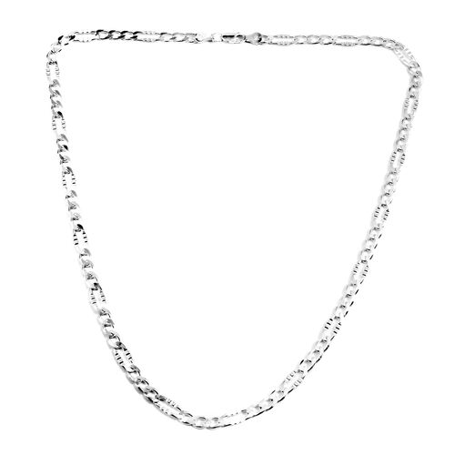 Close Out Deal Sterling Silver Figaro Necklace (Size 22), Silver wt 19.00 Gms.