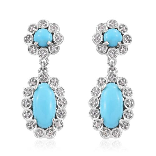 Arizona Sleeping Beauty Turquoise (Ovl), Natural Cambodian Zircon Earrings (with Push Back) in Platinum Overlay Sterling Silver 3.000 Ct.