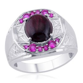 Designer Collection Red Tiger Eye (Ovl 4.50 Ct), Simulated Ruby Ring in Platinum Bond 7.420 Ct.