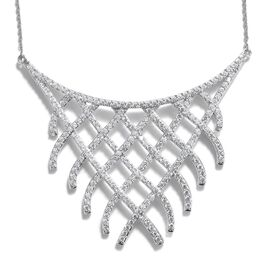 J Francis - Platinum Overlay Sterling Silver (Rnd) Necklace (Size 17) Made with SWAROVSKI ZIRCONIA