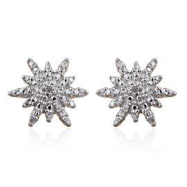 Diamond (Rnd) Starburst Stud Earrings (with Push Back) in 14K Gold Overlay Sterling Silver