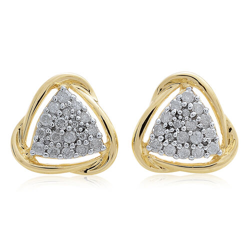 9K Yellow Gold 0.50 Carat SGL Certified Diamond I3/G-H Trillion Cluster Stud Earrings (with Push Back)