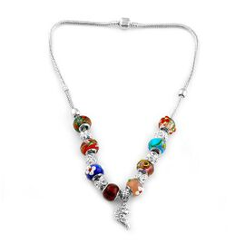 Funky Glass Necklace (Size 18) in Silvertone
