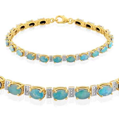 Boulder Opal Triplet (7.25 Ct) and Diamond Bracelet (Size 7.5) 14K Gold Overlay Sterling Silver