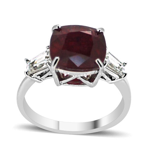 African Ruby (Cush 8.50 Ct), Natural Cambodian White Zircon Ring in Rhodium Plated Sterling Silver 9.500 Ct.