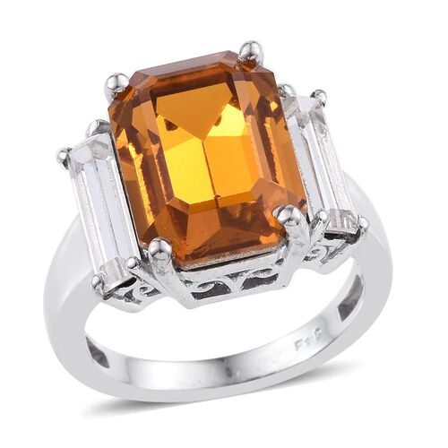 Crystal from Swarovski - Topaz Colour Crystal (Oct), White Crystal Ring in ION Plated Platinum Bond