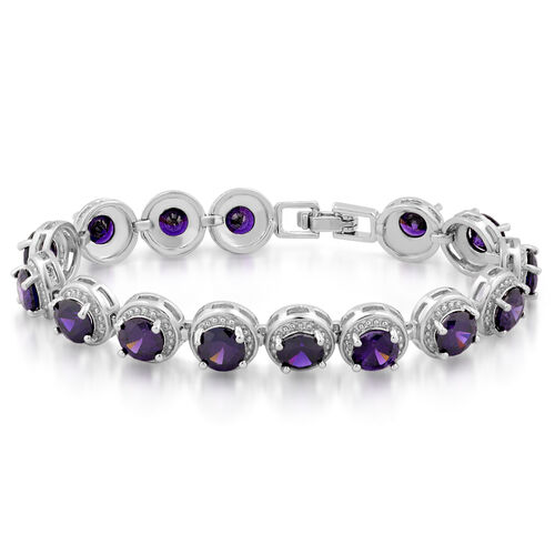 JCK Vegas Collection AAA Simulated Amethyst (Rnd) Bracelet (Size 7) in Silver Bond